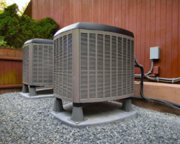 two nice hvac units at a home