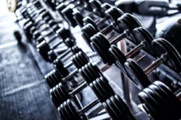 Clean dumbells at a gym
