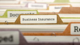 business insurance folder with files in it, among other folders